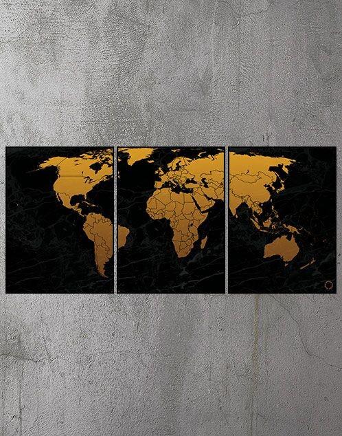3 delt Plakat med verdenskort