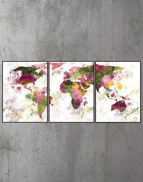 3 delt Plakater med verdenskort