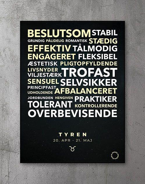 Citatplakat stjernetegn Plakat Tyren